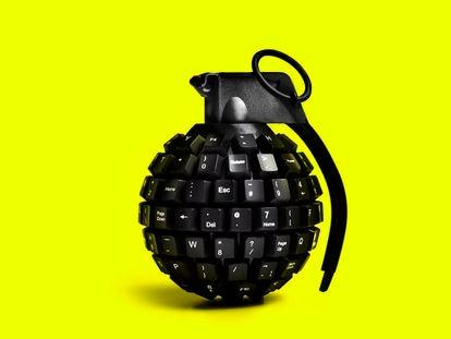 Una granada hecha con teclas de ordenador