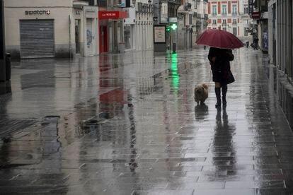 Una mujer pasea un perro por la calle Preciados. / LUIS DE VEGA