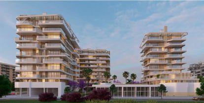 Recreación de un residencial de Kronos Homes en la playa de San Juan en Alicante, que tendrá el sello Breeam.