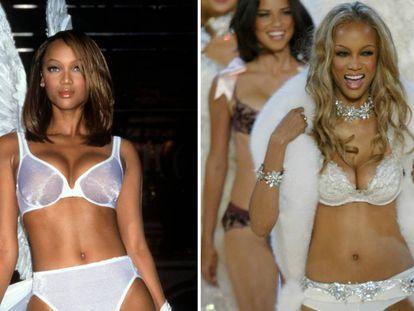 Tyra Banks, en el desfile de Victoria's Secret en 1998 y de 2003.