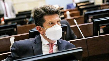 Diego Molano, ministro de Defensa de Colombia, este lunes en el Senado durante la moción de censura.