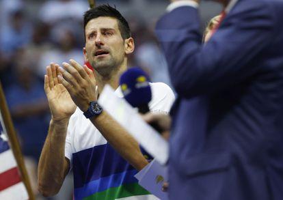 Novak Djokovic durante la ceremonia final, en el pista Arthur Ashe de Nueva York.