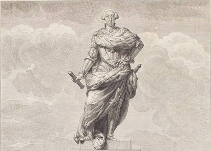 Grabado de una estatua de Carlos III, obra de Manuel Salvador Carmona.