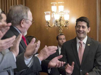 El presidente de la Cámara de Representantes de EE UU, Paul Ryan, llega a la firma de la reforma fiscal republicana.