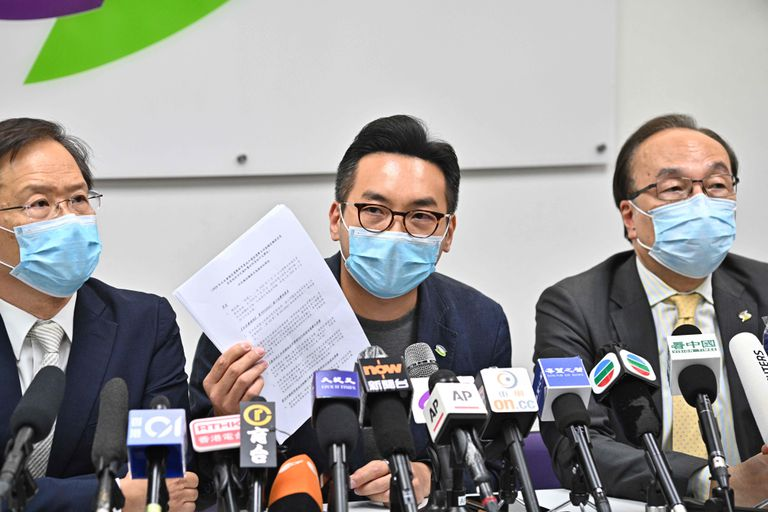 One of the disqualified electoral candidates, Deputy Alvin Yeung, shows the notification that invalidates his candidacy.