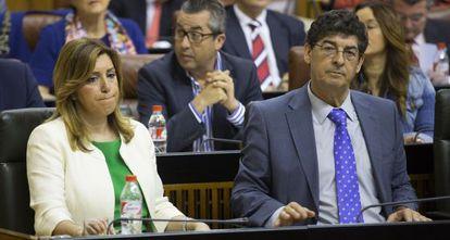 Susana Díaz y Diego Valderas, esta semana en el Parlamento.