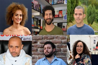 From left to right and top to bottom: Leila Slimani, Marwan, Abdelá Taia, Mohamedou Ould Slahi, Munir Hachemi and Najat el Hachmi