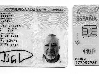 Dos DNI con identidades falsas y la foto de Villarejo, encontrados en su domicilio de Boadilla del Monte (Madrid).
