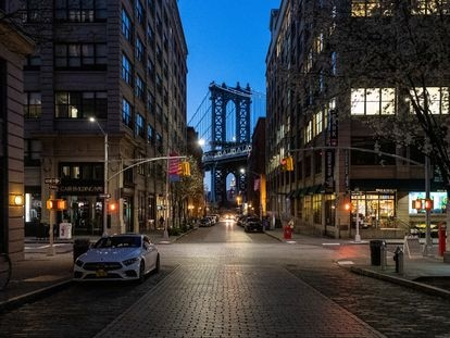 Una calle vacía en Nueva York, el viernes.