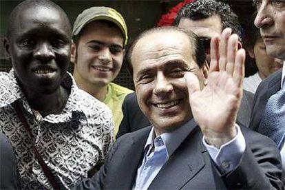 Silvio Berlusconi hizo ayer campaña en Nápoles para las elecciones administrativas del fin de semana.