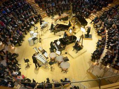 Interpretación de 'Sur Incises' de Boulez, en el auditorio.
