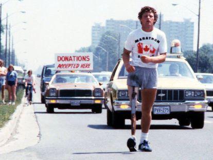 Terry Fox durante su carrera a través de Canadá