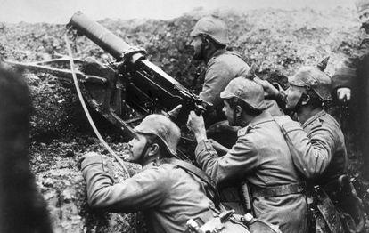 Soldados alemanes durante la Gran Guerra.
