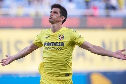 Gerard celebra un gol del Villarreal.