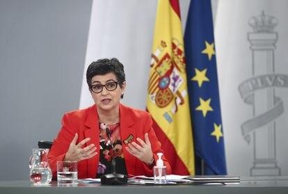 La ministra de Asuntos Exteriores, UE y Cooperación, Arancha González Laya, en la rueda de prensa posterior al Consejo de Ministros de este martes.