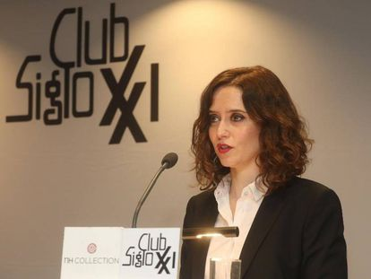 Isabel Díaz Ayuso, candidata del PP a la Comunidad de Madrid, el miércoles en el Club siglo XXI.