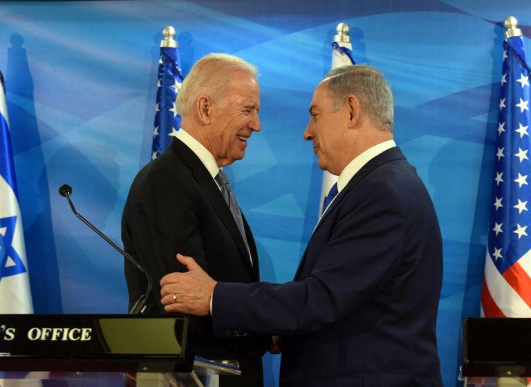 Joe Biden, entonces vicepresidente de EE UU, y el primer ministro Benjamín Netanyahu, en 2016 en Jerusalén.