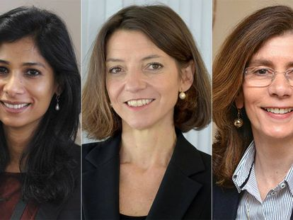 Las economistas Gita Gopinath, Laurence Boone y Pinelopi Koujianou