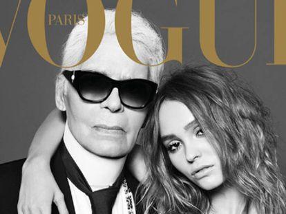 Karl Lagerfeld y Lily-Rose Depp en la portada de 'Vogue' parís del número de diciembre-enero.