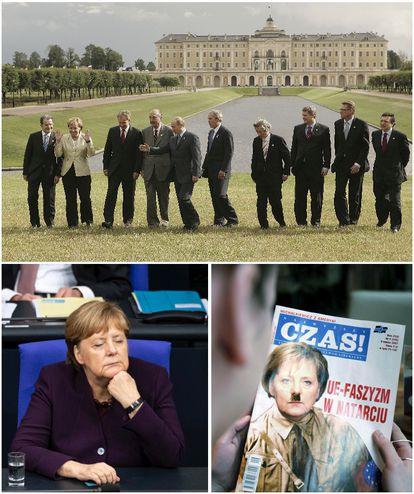 Merkel, rodeada de hombres en una cumbre del G-8 en San Petersburgo en 2006 (arriba), aparentemente dormida el pasado diciembre en el Bundestag y caricaturizada en la portada de una revista polaca en 2007. <b>Pulse en la imagen para visitar la fotogalería sobre el legado de la canciller</b>.