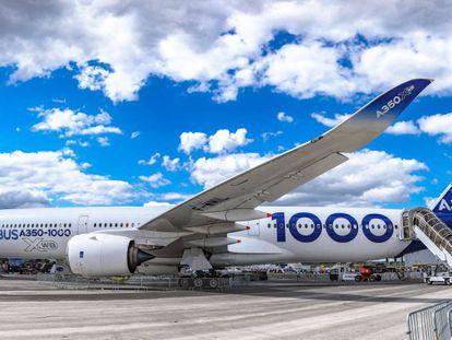 Un Airbus A350-1000 en el último Salón Aeronáutico de París, en junio pasado.