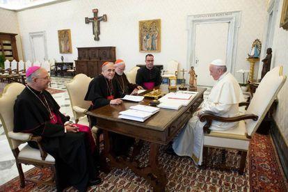 El Papa, durante su reunión con la cúpula eclesial de EEUU.