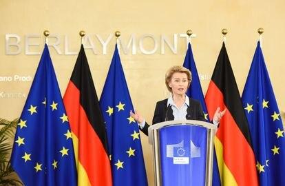 Conferencia de prensa virtual de la presidenta de la Comisión de la UE, Ursula von der Leyen, y de la canciller alemana para el inicio de la Presidencia alemana el 2 de julio en Bruselas.