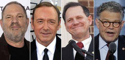 De izquierda a derecha, Harvey Weinstein, Kevin Spacey, Roy Moore y Al Franken.