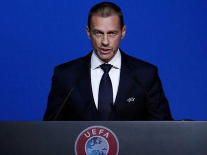 Ceferin, durante un acto reciente de la UEFA.