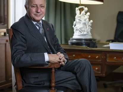 Laurent Fabius en el Centro de Estudios Políticos y Constitucionales en Madrid el pasado 4 de diciembre.