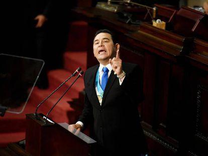 Jimmy Morales durante la presentación de su Segundo Informe de Gobierno.