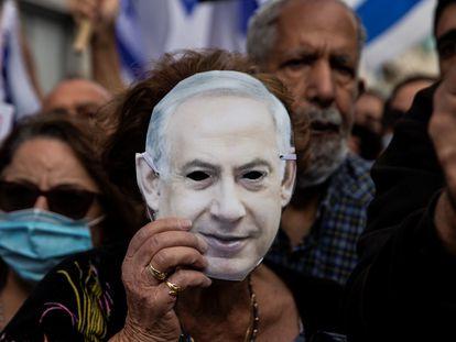 Partidarios del primer ministro israelí, Benjamín Netanyahu, el domingo en Jerusalén.