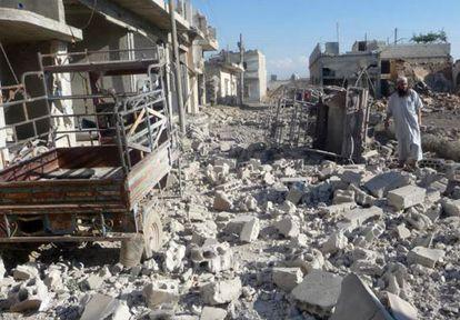 Edificios derrumbados en Qusair tras la ofensiva del régimen sirio.