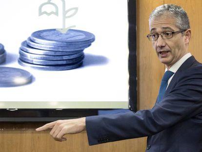 El gobernador del Banco de España, Pablo Hernández de Cos, en una conferencia el pasado octubre.