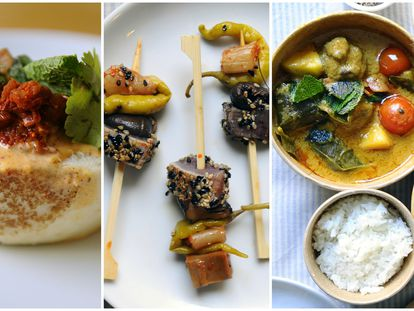 Restaurante Luke. Bao 'bun' coreano, gildas coreanas y curry con albóndigas