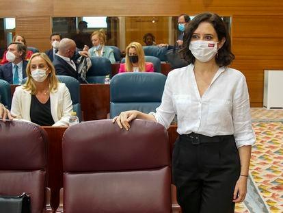Isabel Díaz Ayuso en el debate de investidura en la Asamblea en Madrid el 18 de junio de 2021.