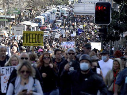 Manifestación en Sídney contra los confinamientos.