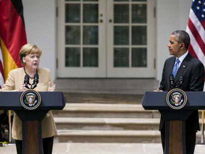 Angela Merkel interviene ante los medios durante su visita a la Casa Blanca, en mayo.