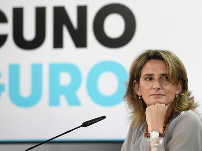 La vicepresidenta cuarta y ministra de Transición Ecológica y Reto Demográfico, Teresa Ribera, durante la rueda de prensa tras el Consejo de Ministros.