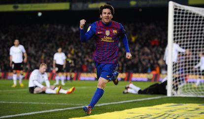 Messi celebra el segundo gol ante el Valencia.