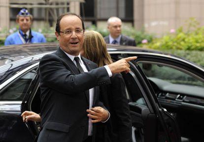 François Hollande a su llegada a la cumbre de Bruselas.
