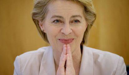 Ursula von der Leyen, durante la entrevista con EL PAÍS y los medios de LENA el 17 de julio de 2019 en Berlín.