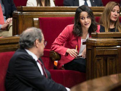 Quim Torra e Inés Arrimadas, durante el debate de política general.