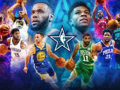 Cartel de los quintetos titulares del All Star.
