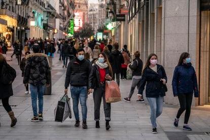 Aspecto de la madrileña calle comercial Preciados.