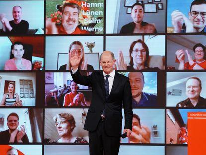 Olaf Scholz, ministro de Finanzas y candidato del SPD a las elecciones generales, tras su discurso en el congreso digital del pasado fin de semana.