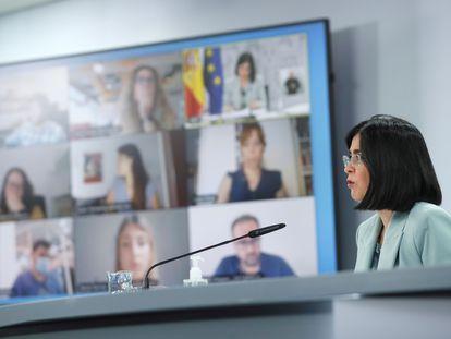 Carolina Darias durante la rueda de prensa tras presidir por videoconferencia, junto a Miquel Iceta, la reunión del Consejo Interterritorial del Sistema Nacional de Salud.