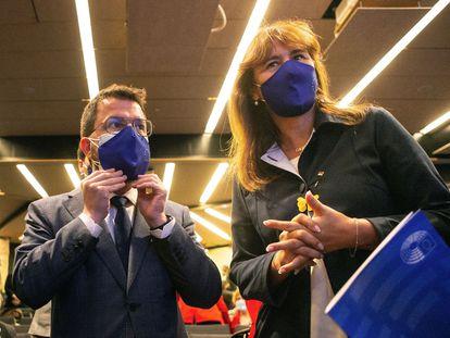 Aragonès y Borràs el pasado domingo en el acto 'Diálogo sobre el futuro de Europa'.