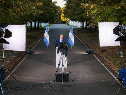 El presidente de Argentina, Alberto Fernández, este miércoles en la quinta presidencial de Olivos.