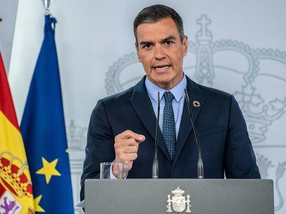 Pedro Sánchez en rueda de prensa en el Palacio de la Moncloa después del Consejo de Ministros.